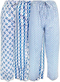 Men's 3 Pack Lounge Pajama Sleep Pants/Drawstring & Pockets Designer Woven Pant Bottoms