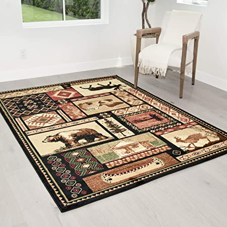 Hr Cabin Collection 906 Nature And Animals Area Rug 7 5 X 10 5 Contemporary Geometric Design Fish Moose Bear Lodge Southwestern Design Ivory Red Green And Multi Kitchen Dining