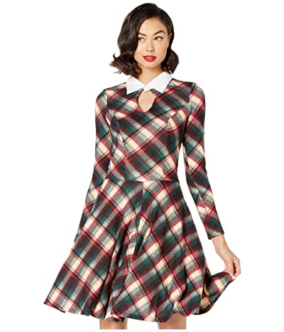 Unique Vintage Long Sleeved Wednesday Flare Dress (Black/Red Plaid Kint) Women