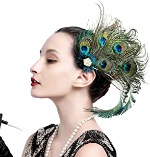 Zivyes 1920s Flapper Headpiece Steampunk Costume Peacock Hair Clip Roaring 20s Accessories for Women