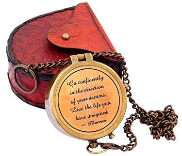 Sara Nautical Thoreau's Go Confidently Quote Engraved Compass with Stamped Leather case Camping Compass Engraved with Gift Compass.