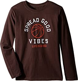 Good Vibes Basketball Long Sleeve Tee (Little Kids/Big Kids)