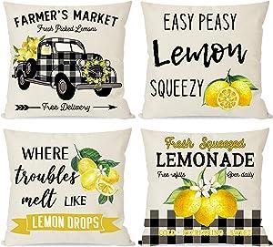 PANDICORN Summer Lemon Pillow Covers 18x18 for Home Decor, Black Buffalo Plaid Truck Lemonade, Modern Farmhouse Throw Pillow Cases for Outdoor Decorations Porch