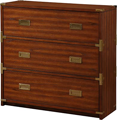 OSP Home Furnishings Wellington Solid Wood 3 Drawer Chest, Toasted Wheat