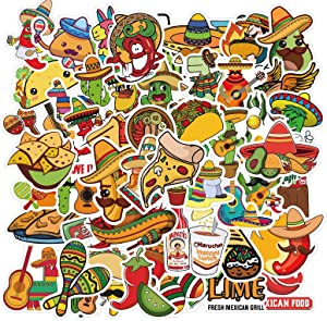 Mexican Food 50 Pieces Stickers Sticker Vinyl Waterproof Cute Trendy Cool Decals Bulk Pack for Girls Teens Boys & Kids