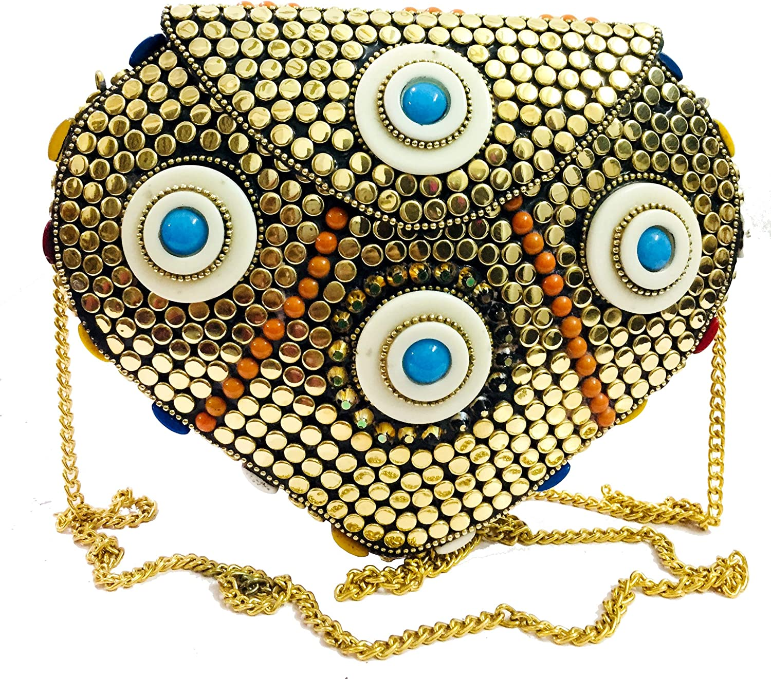 golden Brass Indian Ethnic purse Girls Antique Bridal Bag cross body bag party clutch Metal clutches