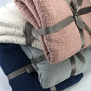Knit Throw Blanket Super Soft Warm Blanket for Couch Lightweight Fluffy Blanket for Bed Sofa 50x60 Inches Dusty Rose