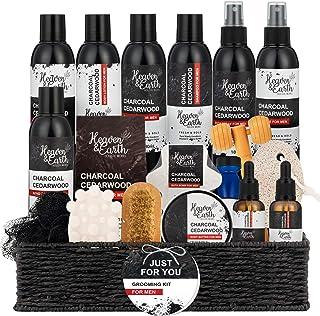 Grooming Kit for Men Gift Set. Charcoal Cedarwood Natural Bath & Body Spa Gift Set for Him. Beard Oil, Beard Brush, Men's ...