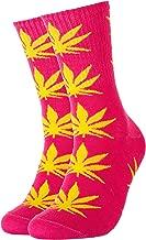 Calcetines de hierba con diseño de marihuana, color rosa con hojas amarillas