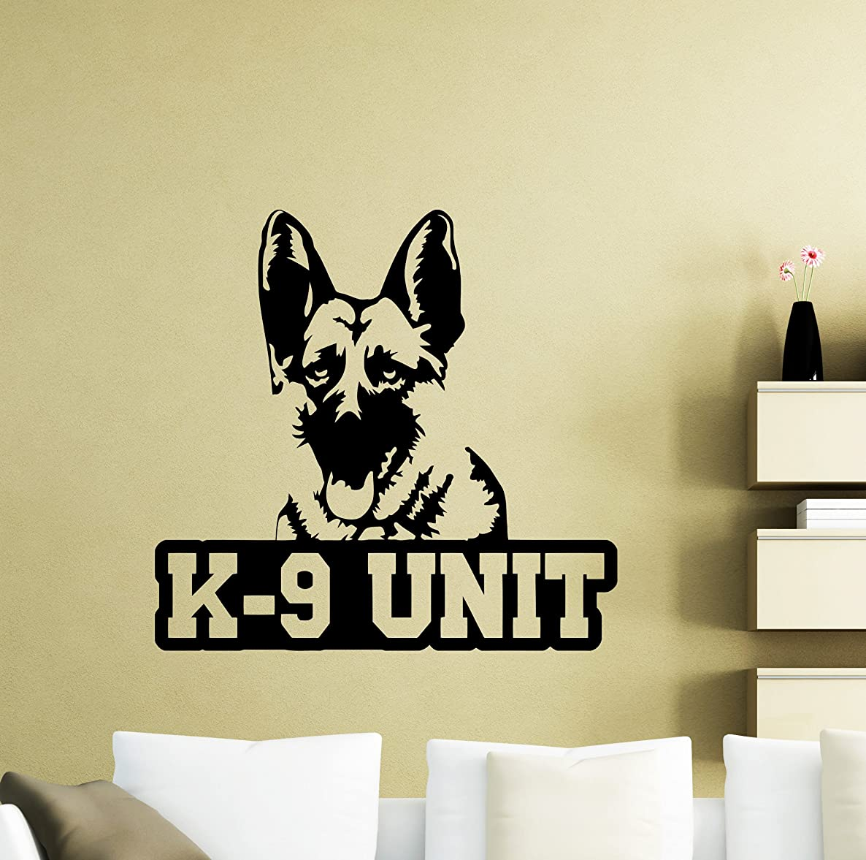 K-9 Dog Wall Decal K9 Unit Police Animal Pets Poster Vinyl Sticker Home Bedroom Living Teen Kids Baby Room Children Nursery Art Decor Stencil Mural 40ca