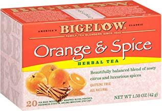 Bigelow Orange & Spice Herbal Tea 20 Bags (Pack of 6), 120 Tea Bags Total. Caffeine-Free Individual Herbal Tisane Bags, for Hot Tea or Iced Tea, Drink Plain or Sweetened with Honey or Sugar