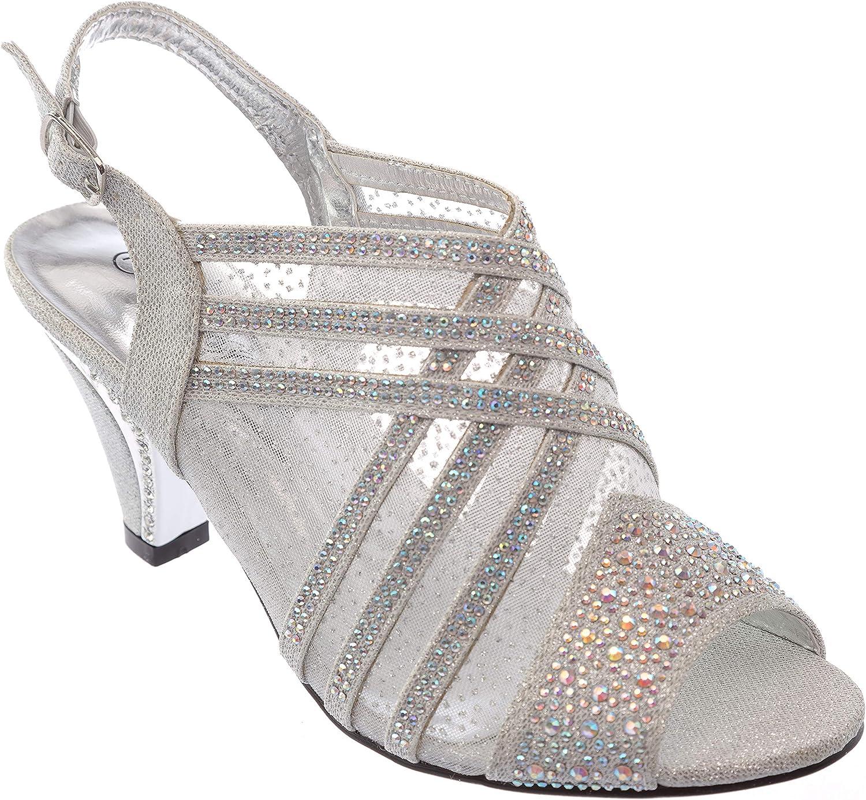Kinmi39 Womens Evening Sandal Rhinestone Dress-shoes