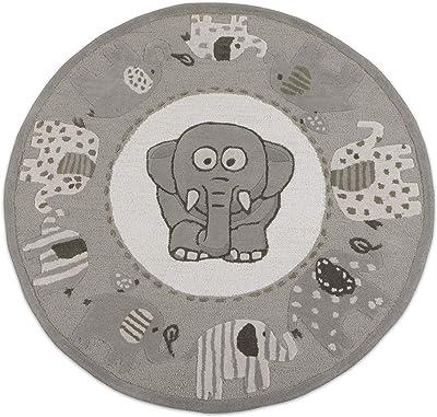 Kids Elephant Pattern 5x5 ft - 150x150 cm Round Handmade Tufted 100% Woollen Area Rugs & Carpet