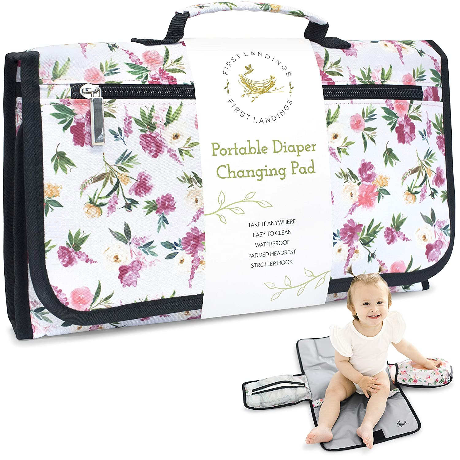 Portable Diaper Changing Pad   Convenient, On The Go Baby Travel Changing Pad   Wipe Holder for Portable Changing Mat   Portable Changing Pad for Diaper Bag   Portable Changing Table