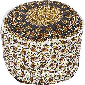 The Art Box Housse de Pouf en Forme de Mandala Indien décoratif pour Pouf Repose-Pieds Rond et Repose-Pieds