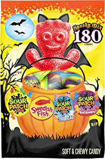 SOUR PATCH KIDS Candy (Original, Tricksters and Tropical) and SWEDISH FISH Candy Halloween Candy Variety Pack, 1 - 180 Tri...