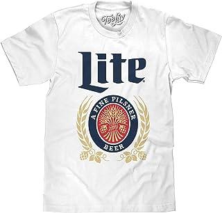 Tee Luv Miller Lite Shirt - Vintage Miller Beer Logo T-Shirt (White)