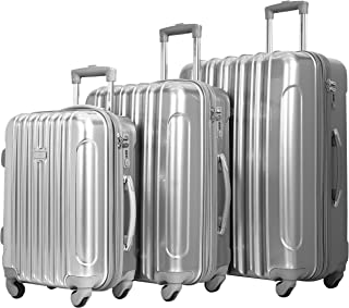 "kensie 3 Piece ""Alma"" Light Metallic Style TSA-Lock Spinner Luggage Set, Silver Option"