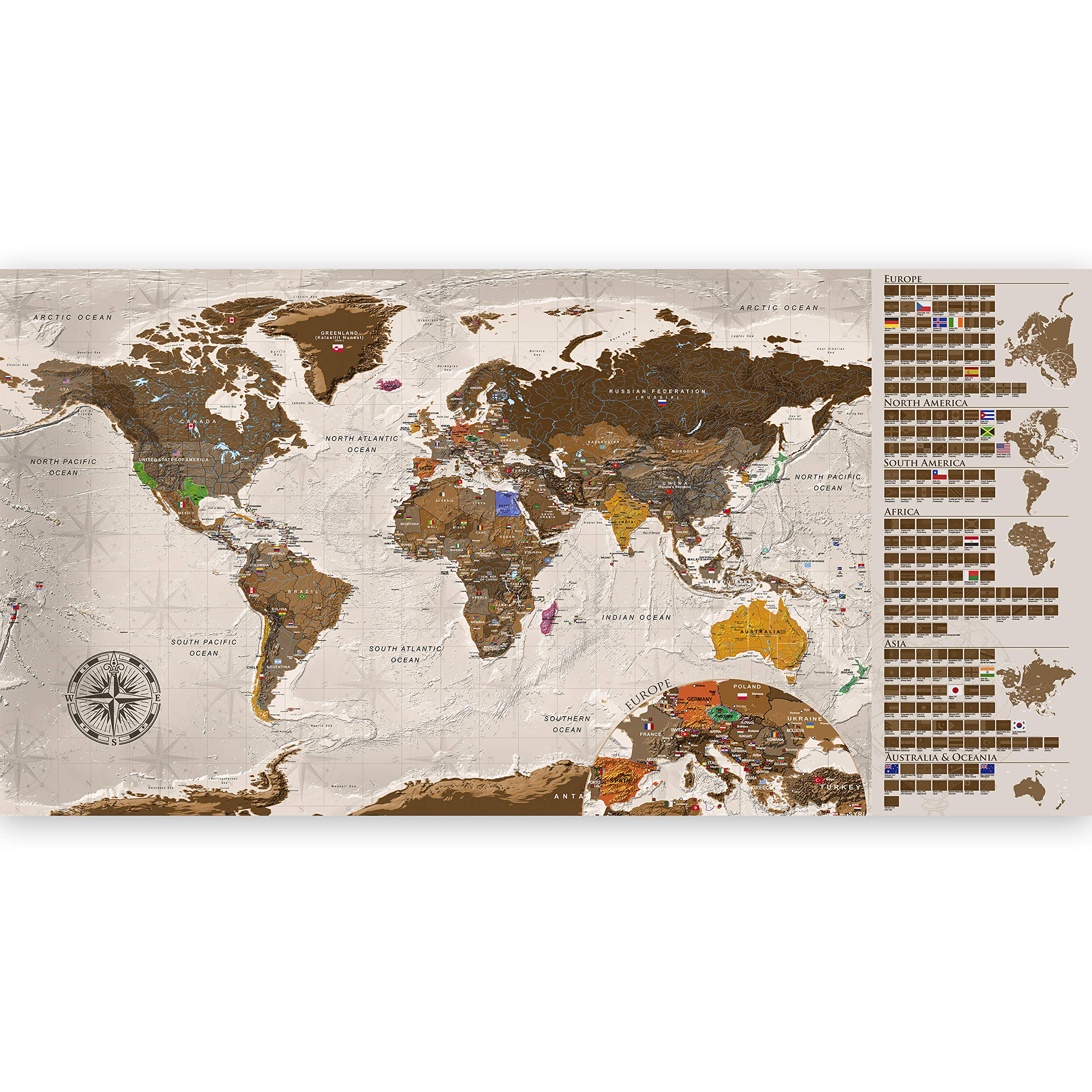 murando - Mapamundi para rascar - Mapa Mundial - 100x50 cm - Color ...