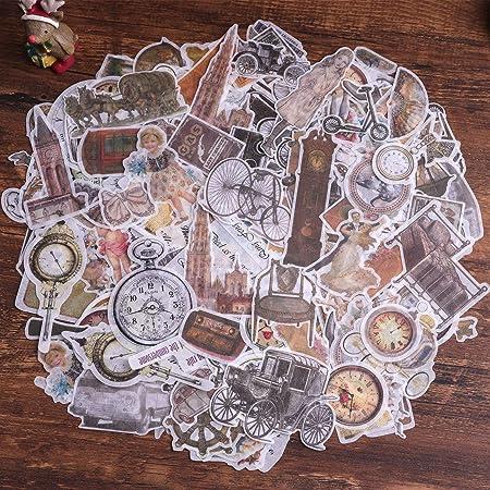 Autocollants de scrapbooking, autocollant de décoration de papier Lychii 240pcs avec éléments rétro, autocollants adhésifs de conception vintage pour scrapbooking artisanal, agenda de calendriers