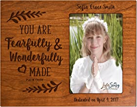 LifeSong Milestones Personalized Gift for Godparents from Godchild Baptism Photo Frame You are Fearfully and Wonderfully Made Maple Picture Frame Holds 4x6 Photo (Cherry)