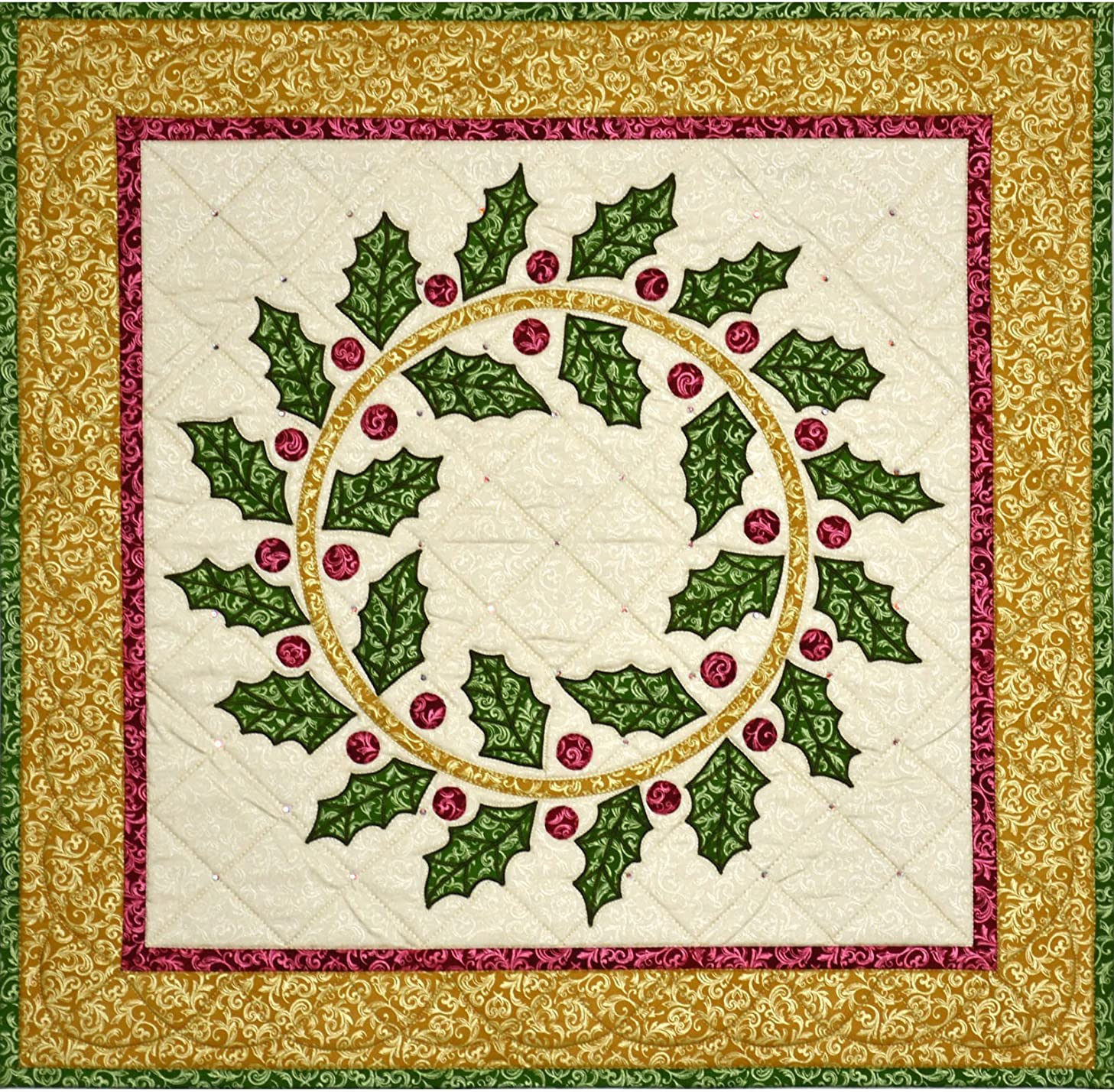Pearl Essence Scroll Holiday Holly Wreath Quilt Kit Maywood Studio