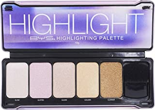 BYS Highlight Palette with Contour Brush and Mirror- Glam, Glisten, Gleam, Golden, Glimmer Makeup Palette Kit Set