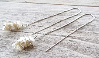 Orecchini con perle keshi bianche e argento 925, pendenti lunghi a catenella, gioielli minimalisti, bijoux con pietre natu...