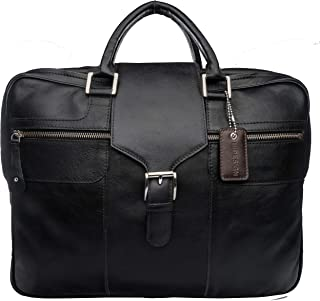Hidesign Leather 42 cms Black Messenger Bag (Aiden 01)