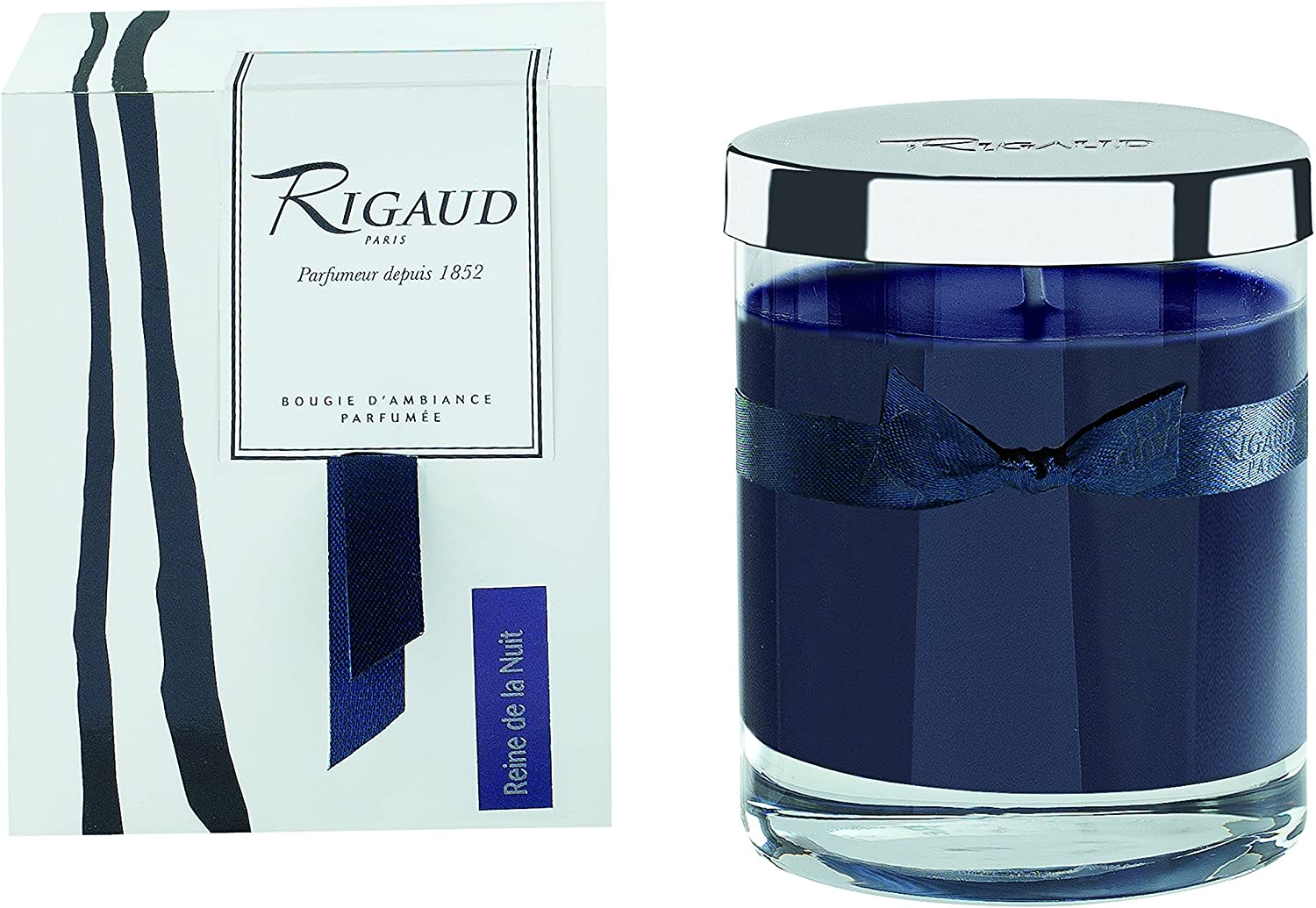 Rigaud Paris, Chevrefeuille (Honeysuckle) Bougie D'ambiance Parfumee, Medium Candle  Modele Complet  with Metal Silver Lid, Deep bluee, 5.6 Oz, 60 Hour, Made in France