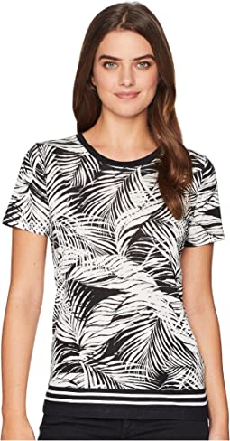 Tropical-Print Linen-Blend Top