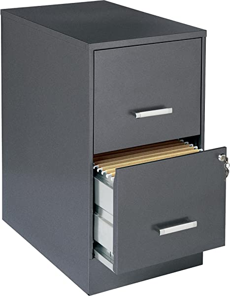 2 Drawer Vertical Steel Lockable Filing Cabinet Gray