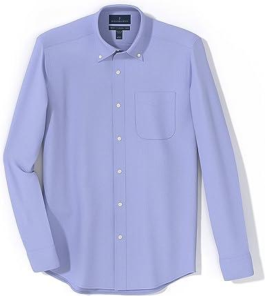Marca Amazon - Buttoned Down - Camisa de vestir de tejido pinpoint de corte ligeramente entallado con cuello con botones de algodón Supima para hombre ...