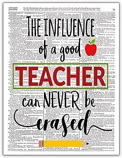 The Influence of a Good Teacher, Teacher Appreciation Week, Dictionary Page Photo Print Wall Art, 8x10 Unframed