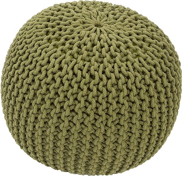 Jaipur Solid Pattern Green Cotton Pouf 20 Inch X 20 Inch X 14 Inch Fern Spectrum