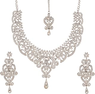 Touchstone Indian Bollywood Royal Look Marvelous Designer Jewelry Necklace Set Embellished With White Crystals For Women i...