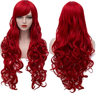 Extra Long Red Wigs Cosplay Party Wig Spiral Curly Synthetic Hair Wigs for Women 32 Inches BU144