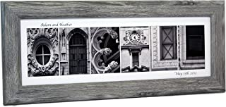Personalized Name created with Black and White Architectural Alphabet Photographs including 8 by 20 inch Frame for Personalized Gift, Wedding, Graduation, Anniversary, Baby Name