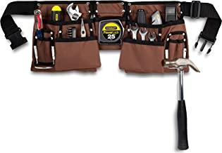 11 Pocket Brown and Black Heavy Duty Construction Tool Belt, Work Apron, Tool Pouch, with..