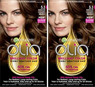 Garnier Olia Ammonia-Free Brilliant Color Oil-Rich Permanent Hair Color, 5.3 Medium Golden Brown (Pack of 2) Brown Hair Dye