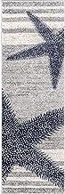 2' x 6' Grey Blue Starfish Runner Rug Rectangle Coastal Beach Themed Rug Runner Striped Floor Carpet For Living Room Kitch...