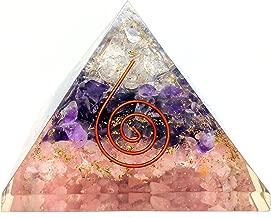 people crystals Rose, Amethyst, and Crystal Quartz Orgone Reiki Pyramid Kit/Includes 4 Crystal Quartz Energy Points/EMF Protection Meditation Yoga Energy Generator