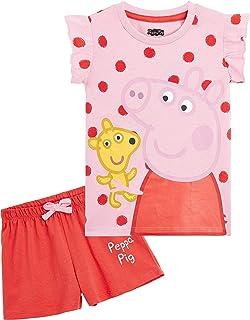 Peppa Pig Pijama Niña, Ropa Niña 100% Algodon, Conjunto 2 Piezas Pijama Niña Verano, Pijama Corto Niña para Playa Vacacion...