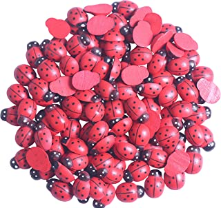 YAKA 100Pcs Red Wooden Ladybird Ladybug Flatback for Crafts Home Decor Children Kids DIY Craft Home Party Sticker Decoration Applique