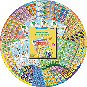HORIECHALY Scratch and Sniff Stickers, 100 Sheets with 25 Different Scents, Best Choice for Kids & Teachers & Parents as Reward Stickers, Gift, Party Favor, Goodie. Awesome Smelly Stickers.