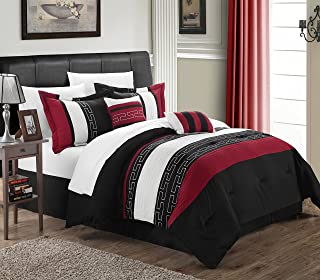 Chic Home Carlton 10-Piece Comforter Set Queen Size Black; Sheet Set, Bedskirt, Shams and Decorative Pillows Included