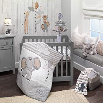 Lambs & Ivy Jungle Safari Elephant 3-Piece Mini Crib Bedding Set - Gray/White