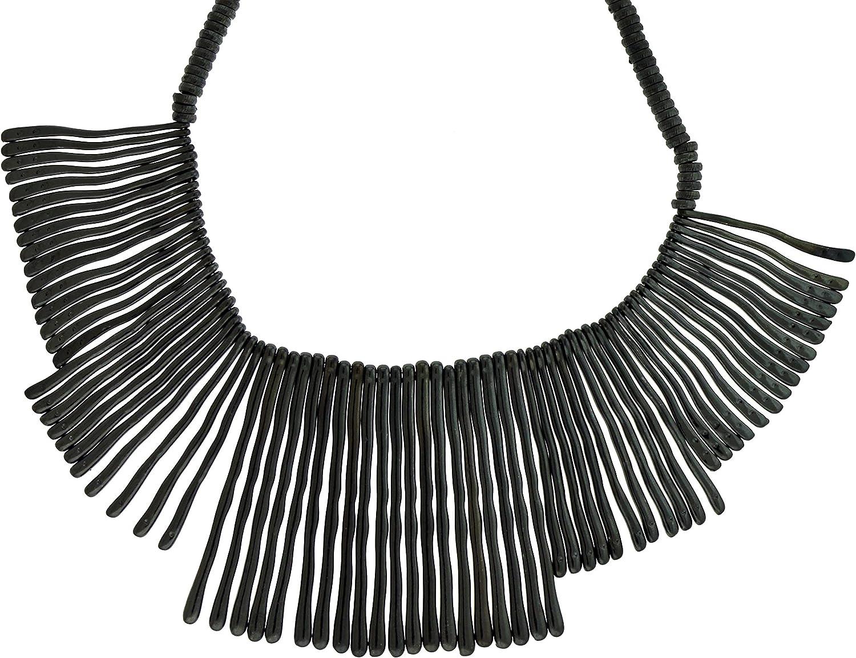 Mi Amore Dark Gray Collar Choker Necklace With Drop Bar Accents TMN1028
