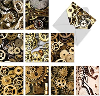 10 Assorted 'Gearing Up' Note Cards with Envelopes 4 x 5.12 inch, All Occasion Blank Greeting Cards with Pictures of Gears and Cogs, Boxed Stationery Set for Birthdays, Parties, Thank You M2014