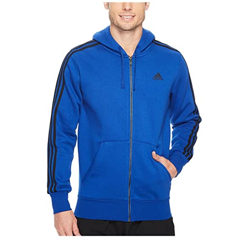 11219531926 adidas Men's Essentials 3-Stripe Full Zip Fleece Hoodie